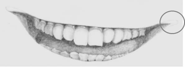 Teeth drawing with corners of the mouth added