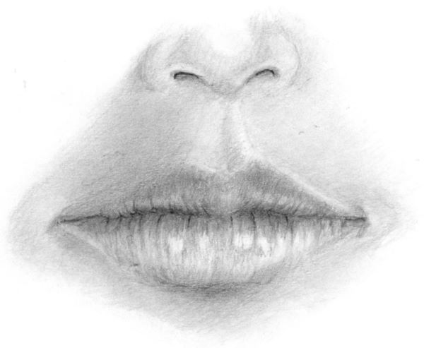 Completed mouth drawing