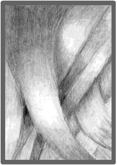 Stylised overlapping locks of hair