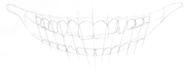 Mouth drawing with bottom teeth added