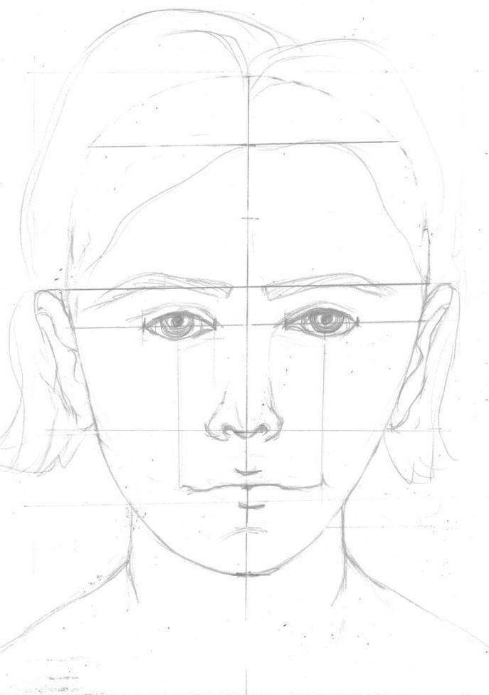 Completed drawing of the face