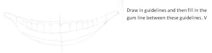 Mouth outline with top teeth drawn in